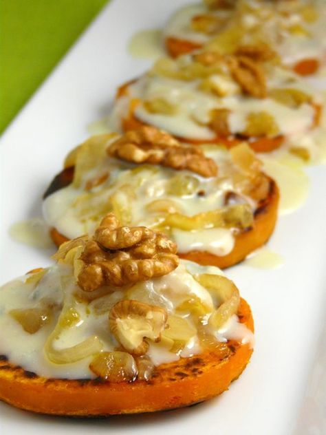 receta de tapa de calabaza con nueces y gorgonzola