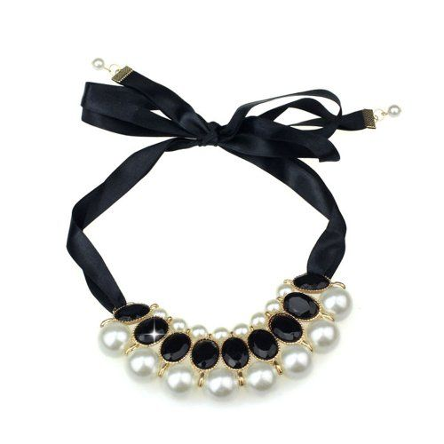 """Bestpriceam Beautiful Pearl Charm Necklace for Girls Women (Black). Pearl. Nice accessories to integrate jewelry case for girls and collectors. Wonderful gift for you and your female friends. Material: Alloy. Match with suitable apparel for different occasion. Package Include: 1PC Candy Color Fashion Exquisite Multilayer Big Pearl Charm Necklace(without retail package). Chain Length: 90CM/35.4""""(Adjustable). Ribbon."""