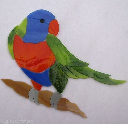 Lorikeet Parrot precut stained glass art kit. Many original designs selling on ebay.