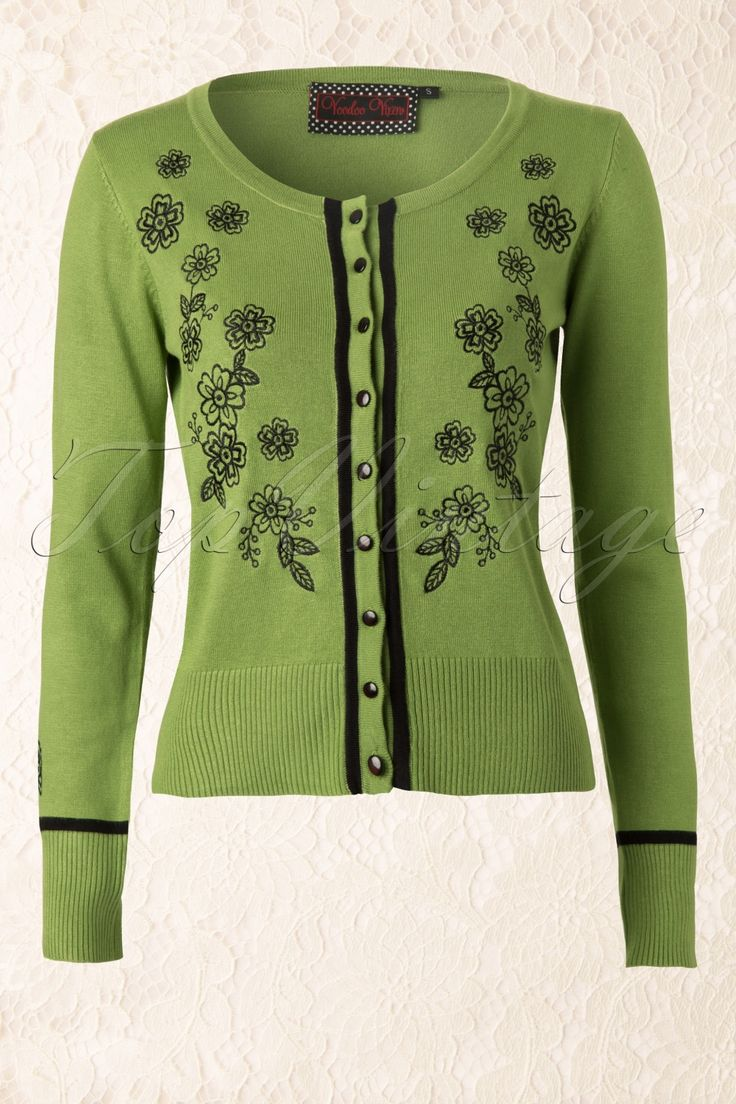Vixen - Floral Cardigan in Vintage Green and Black