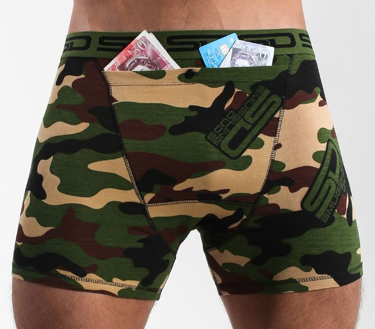 Jungle Camo Smuggling Duds Boxer Briefs has a camouflage design and are from The Core Collection that has our new design registered bigger stash pocket to keep more of your valuables safe.