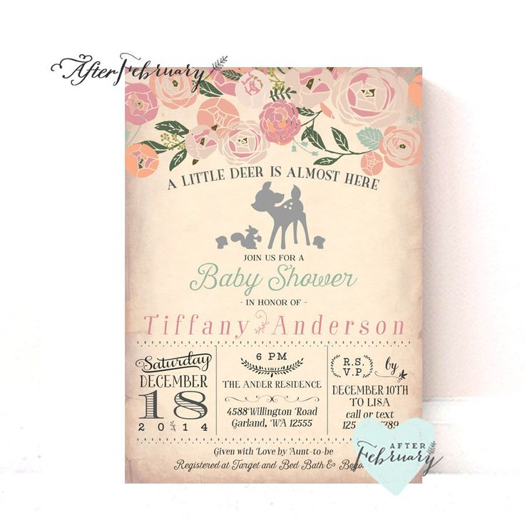 Woodland Baby Shower Invitation // Baby Girl Shower Invite // Deer Shower Invites Birch Deer Trees Vintage Retro Rustic // Printable No.940 by AfterFebruary on Etsy https://www.etsy.com/listing/228195254/woodland-baby-shower-invitation-baby