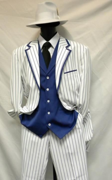 1940s mens blue striped suit. Milano Moda White with Blue Stripe Vested Zoot Suits $139.00 AT vintagedancer.com