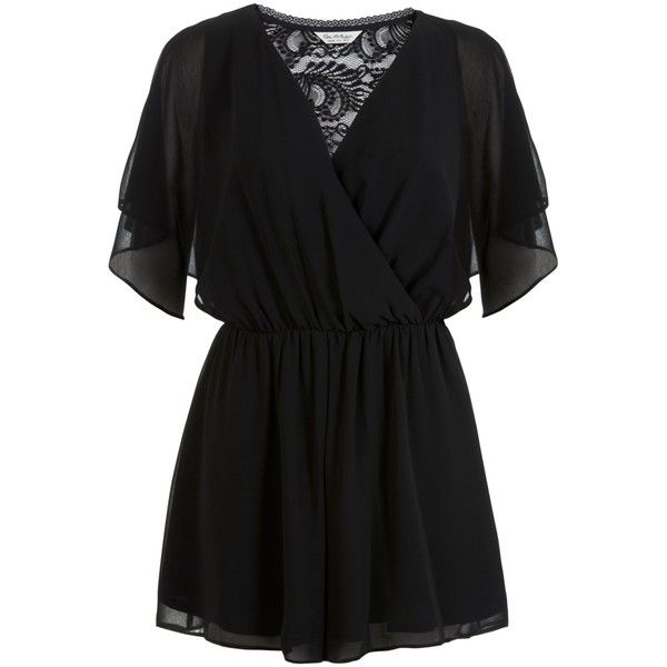 Miss Selfridge Lace Back Playsuit (67 BYR) ❤ liked on Polyvore featuring jumpsuits, rompers, dresses, playsuits, combinaison, miss selfridge, black, wrap jumpsuit, short sleeve romper and long-sleeve romper