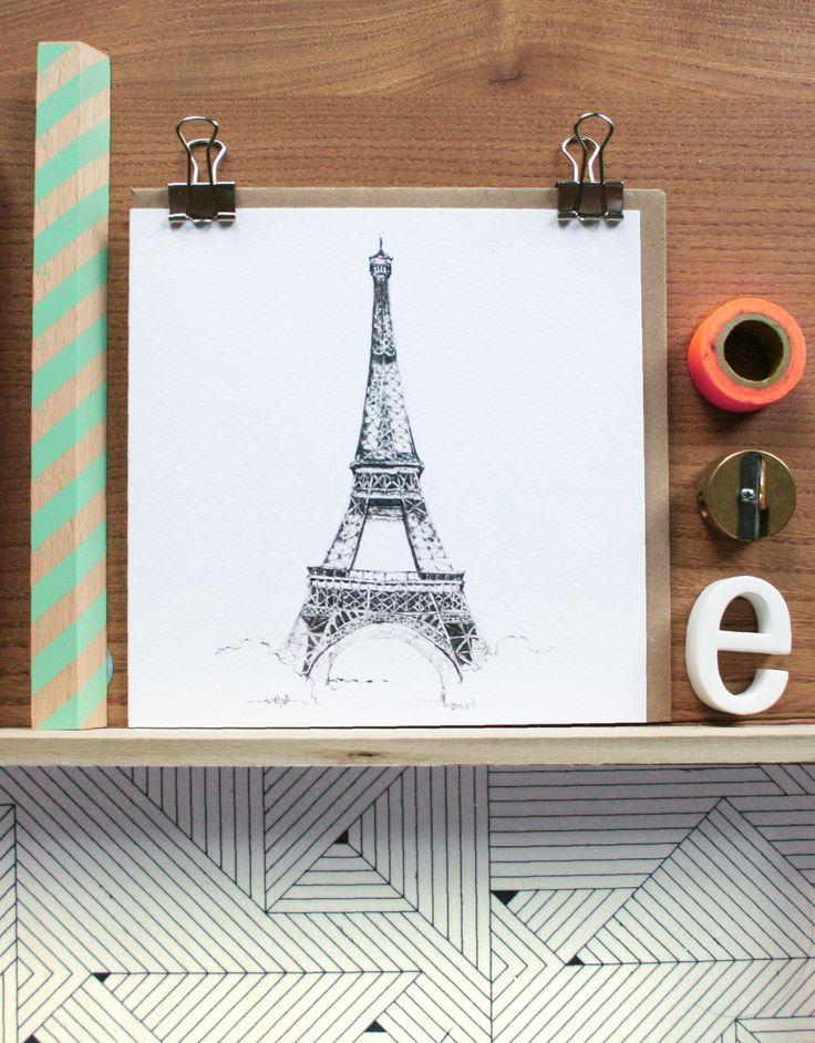 Eiffel Tower Card - Blank inside