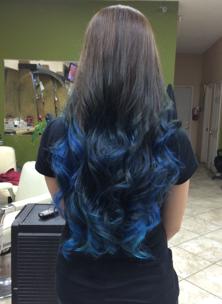 Blue ombre for long hair