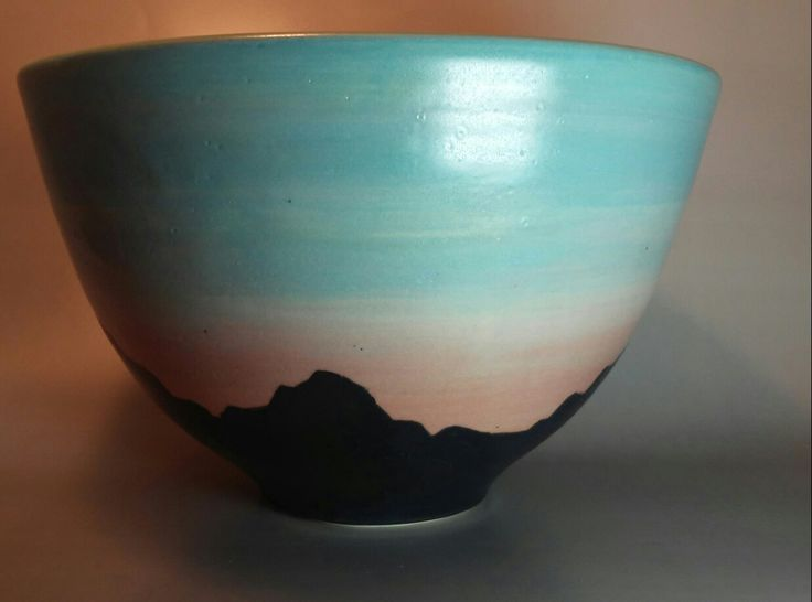 Mountain sunset bowl www.facebook.com/patsy.oconnell.pottery