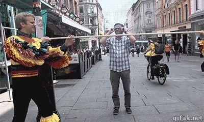 Asking a stranger to limbo under a pole blindfolded, then leave him looking stupid