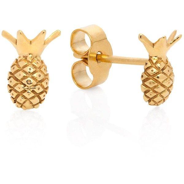 Lee Renee - Pineapple Stud Earrings ($80) ❤ liked on Polyvore featuring jewelry, earrings, pineapple earrings, pineapple stud earrings, pineapple jewelry and stud earrings