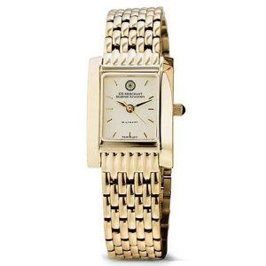 """US Merchant Marine Academy Women's Swiss Watch - Gold Quad with Bracelet by M.LaHart & Co.. $379.00. Officially licensed by the US Merchant Marine Academy. Three-year warranty.. Attractive M.LaHart & Co. gift box.. Swiss-made quartz movement with 7 jewels.. Classic American style by M.LaHart. U.S. Merchant Marine Academy women's gold watch featuring USMMA seal at 12 o'clock and """"U.S. Merchant Marine Academy"""" inscribed below on cream dial. Swiss-made quartz movement w..."""