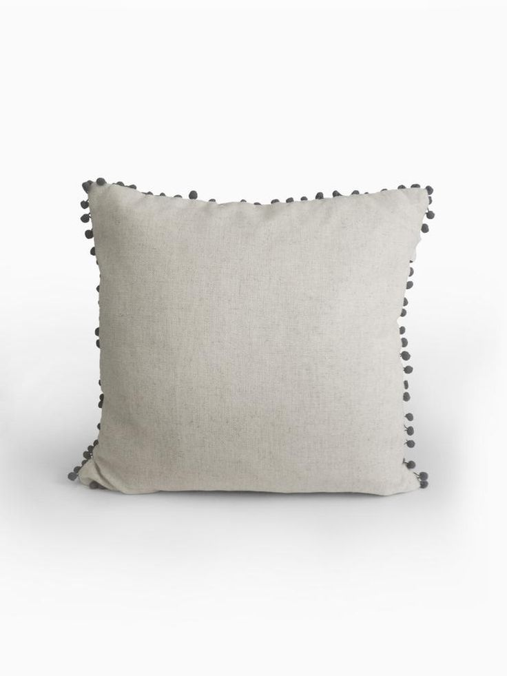 Linen & Charcoal Pom Pom Cushion