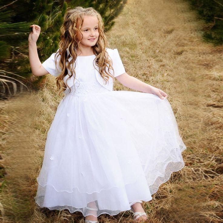 67.50$  Buy here - http://alinvu.worldwells.pw/go.php?t=32660941010 - Hot Beach Wedding Flower Girl Dress Ankle Length A-Line Short Sleeves O-Neck White Eerste Communie Jurken Voor Meisjes 2016 67.50$