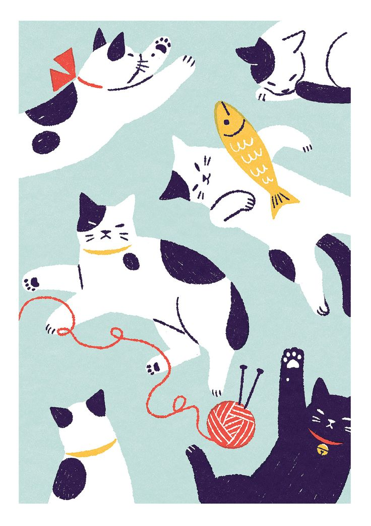 "shinoillustration: ""猫 "" - Tap the link now to see all of our cool cat collec"