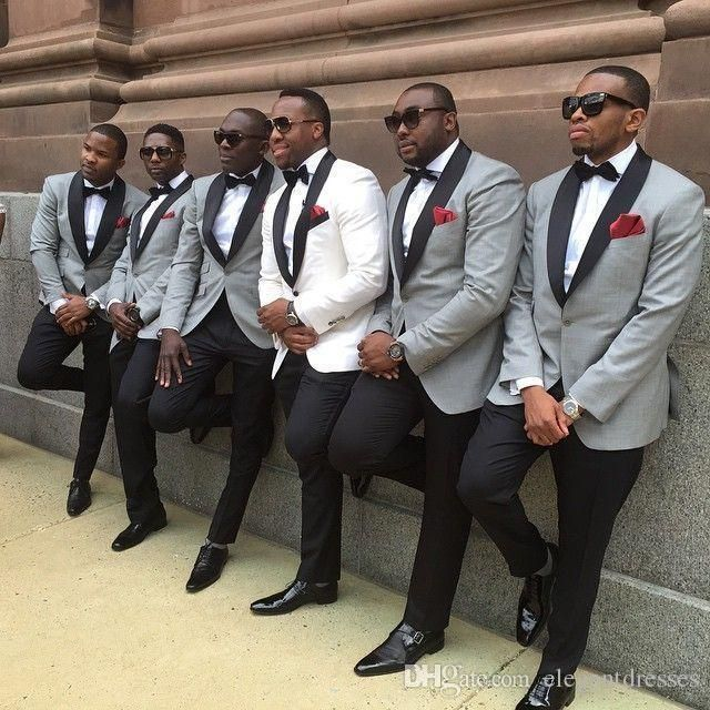 2017 One button slim fit groom tuxedo White/light grey Jacket+Pants mens Tuxedos with Black lapel best men suits Custom Made Groomsmen suits