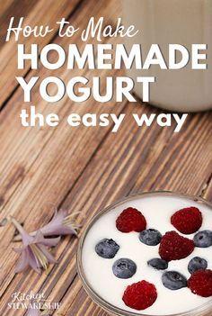 How to make homemade yogurt the easy way! Troubleshoot runny homemade yogurt, tips for creamy yogurt, the perfect method without a yogurt maker. 24 hour yogurt too.