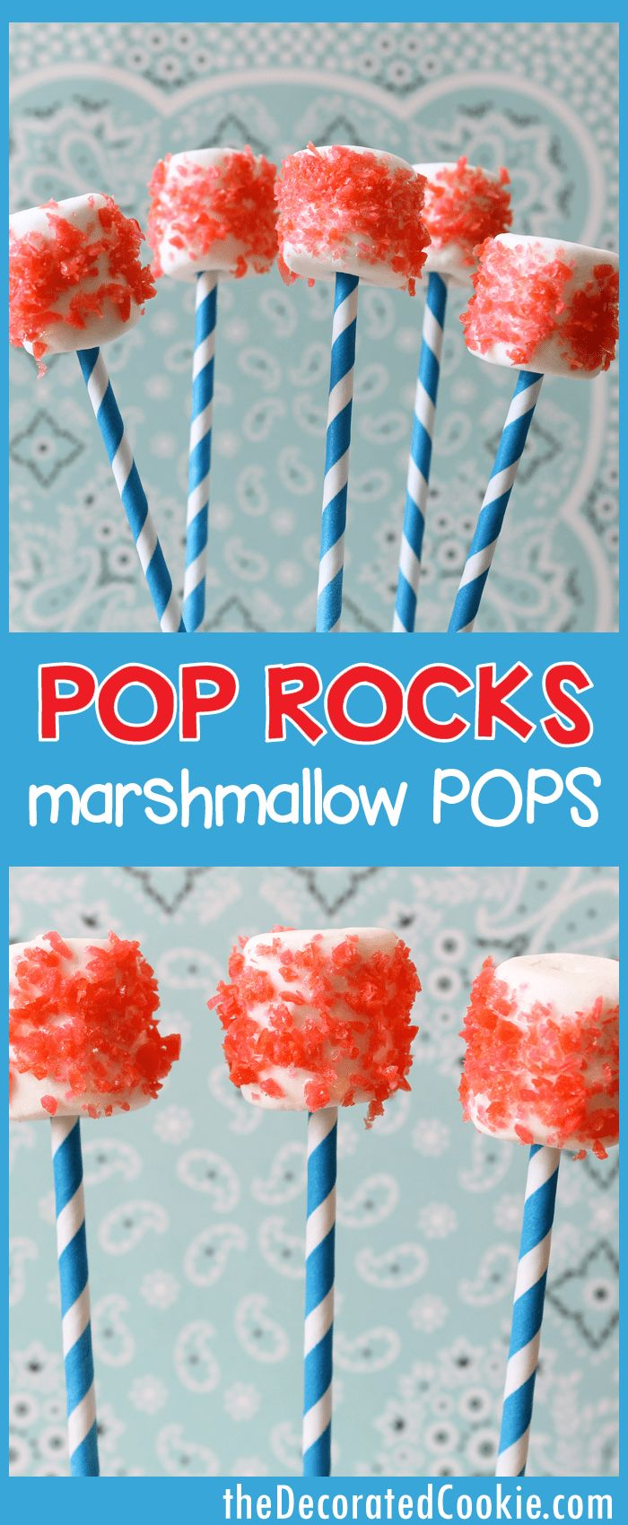 Pop Rocks marshmallow pops for the 4th of July