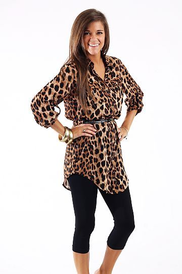 Safari Tunic $44.00 You cannot go wrong with an animal print this season! This one even comes with a belt. We love that the length is perfect for leggings and the gold buttons add nice detail:) Fits true to size. Miranda is wearing the small https://www.etsy.com/shop/MyselfJewellery