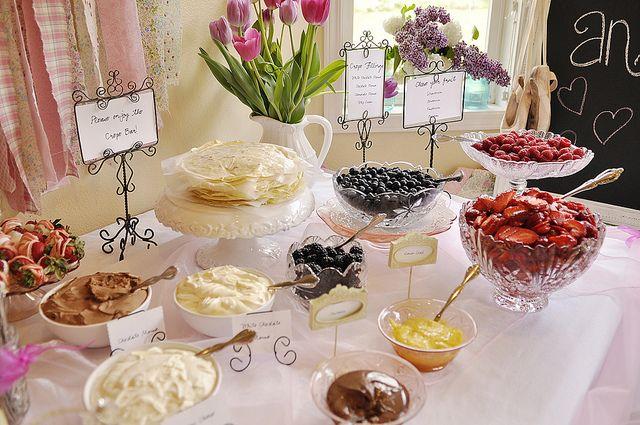 crepe bar: Shower Ideas, Waffles Bar, Crepes Recipes, Crepes Bar, Desserts Bar, Parties Ideas, Bridal Shower, Baby Shower, Food Bar