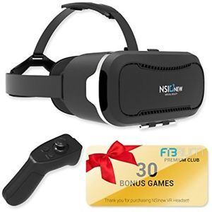 "COMPLETE SET – includes a VR headset & 30 best VR apps/3D games (accessible for the first 30 days) COMPATIBLE with all 4-6"" iOS and Android phones, VR Helmet can turn any phone into a 3D cinema any place, any time. High definition lenses offers completely immersive 3D experience while eliminating glare, eye fatigue and dizziness VR Headsets comes with BLUETOOTH REMOTE as a BONUS. With Apple phones the remote supports not all modes due to platform restrictions."