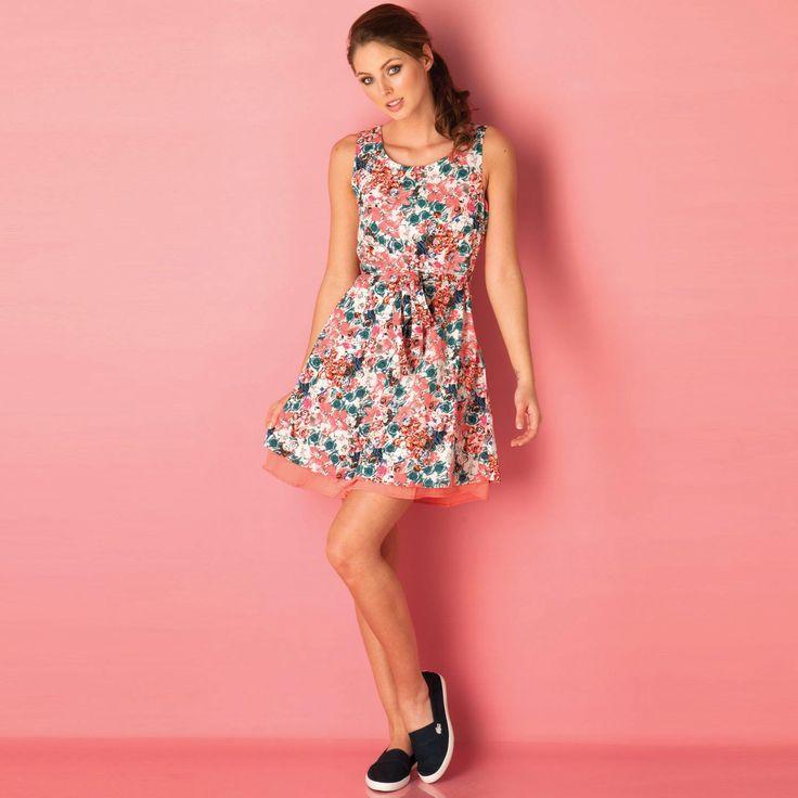 Women | Coral Womens Rose Flower Belt Dress | Get The label