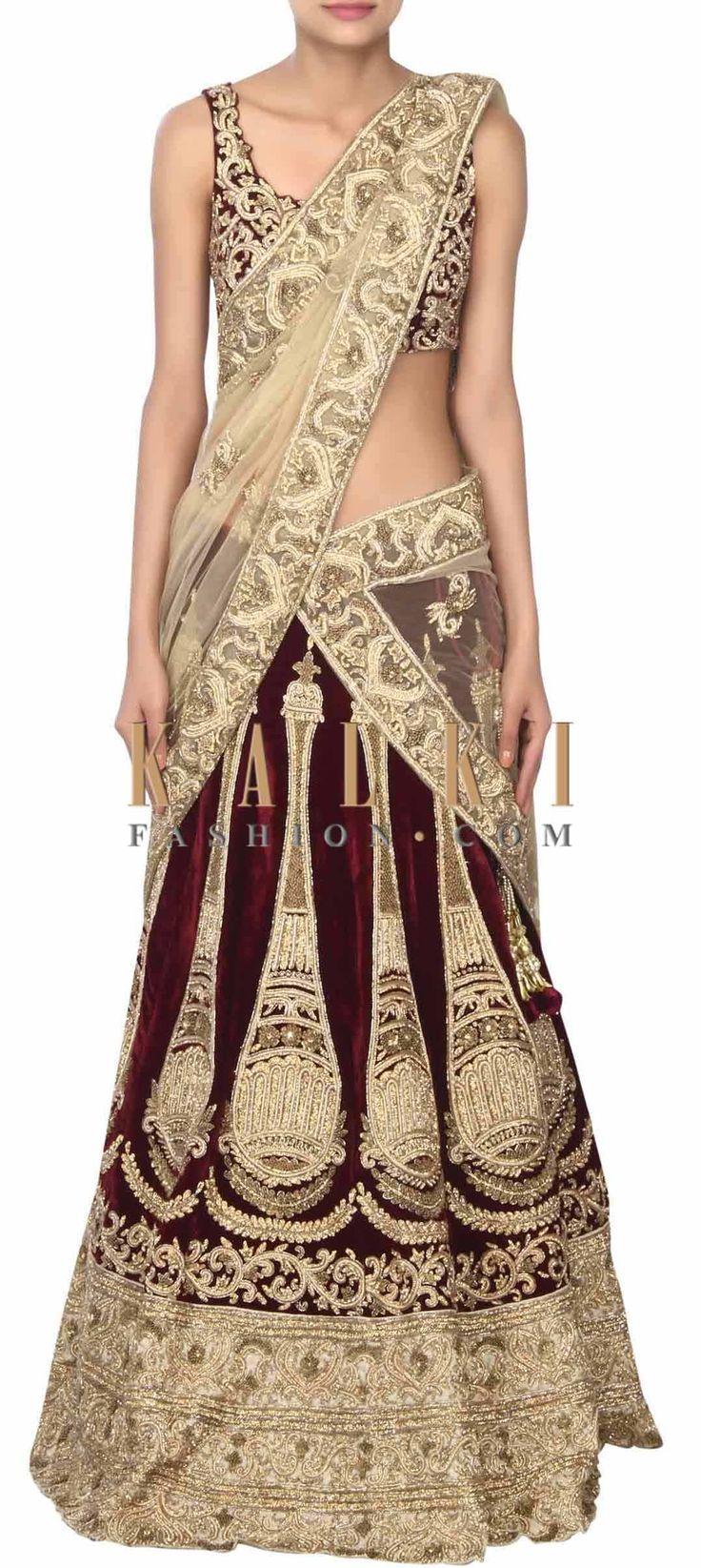 Buy this Wine lehenga adorn in kundan and zari embroidery only on Kalki