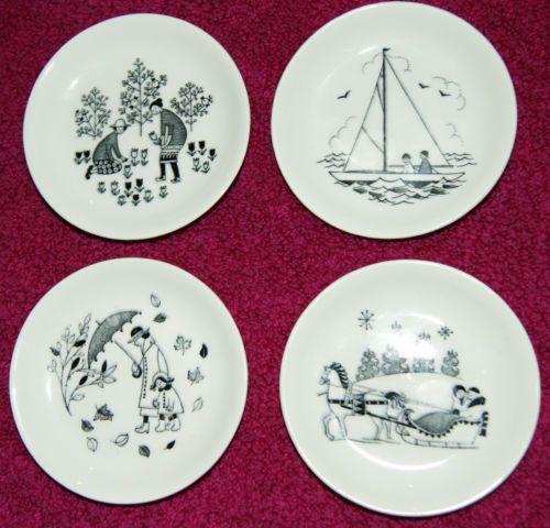 Set of 4 Arabia Finland Seasonal Miniature Plates