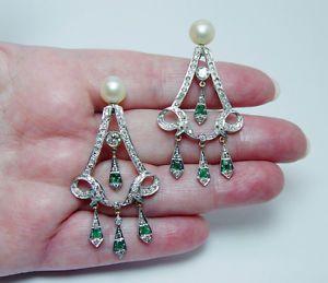Vintage-3ct-Emerald-De-Diamante-brincos-de-candelabro-de-Ouro-de-14k-de-video-de-joias-de-imoveis