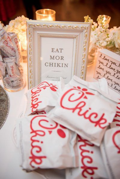 late night food snacks, chick fil a wedding food from blue and white wedding at Georgetown Sequoia DC wedding