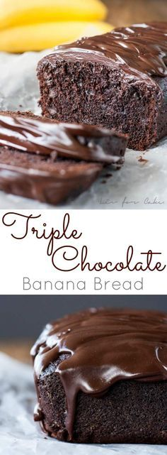 Easy, one-bowl Triple Chocolate Banana Bread. Loaded with chocolate chips and topped with a dark chocolate ganache. | livforcake.com