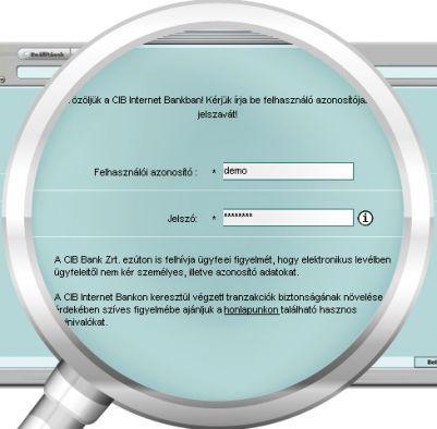 CIB Bank website | Aktiválás (normál jelszó)