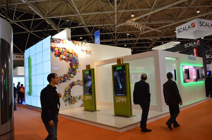 """""""Explora Totem"""" single side 55"""" customized for the kick off of the UPP! media player, in the Philips booth at ISE Europe 2013 in Amsterdam."""