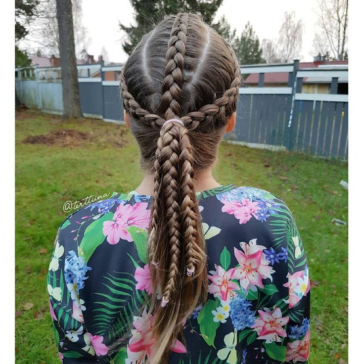 Braids & Hair by @terttiina Instagram: three dutch braids into a ponytail.