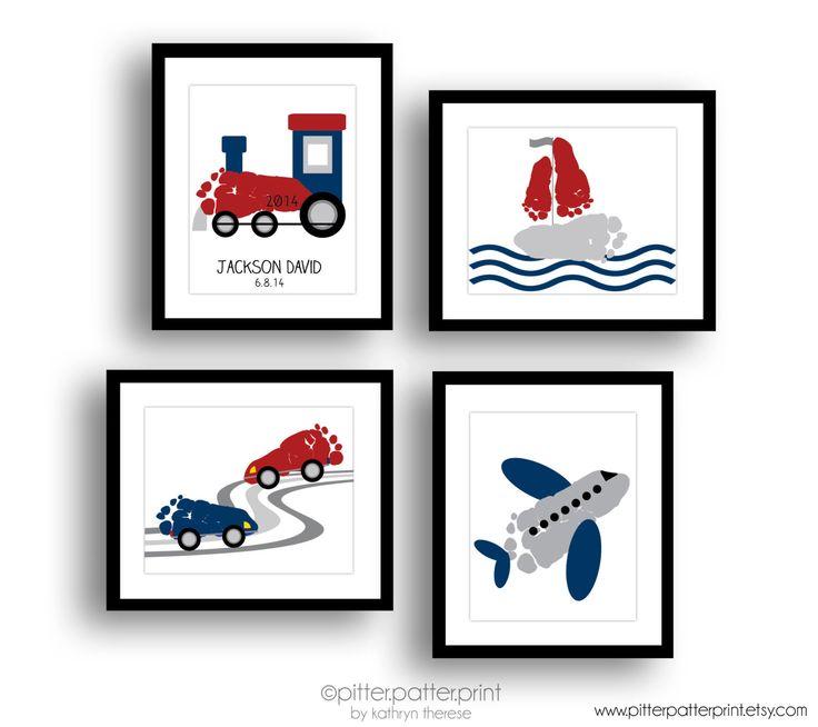 Transportation Art Print Set, Train, Airplane, Car, Sailboat Nursery Wall Art, Baby Footprint Art, Personalized Boys Room Decor, Baby Art by PitterPatterPrint on Etsy https://www.etsy.com/listing/225967996/transportation-art-print-set-train