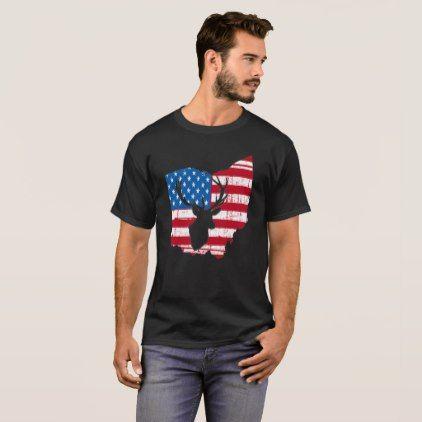 American Flag Ohio Deer Hunting Patriotic T-Shirt - diy individual customized design unique ideas