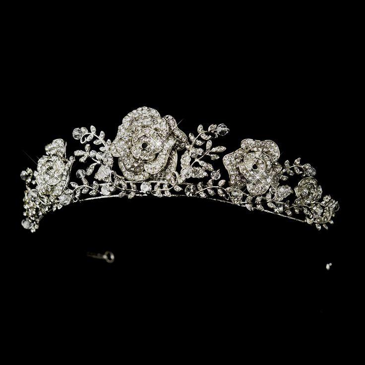 Exquisite Antique Silver Rhinestone Rose Flower Wedding Tiara Affordable Elegance Bridal