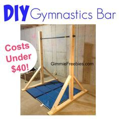 How to Make a Gymnastic Practice Mini Bar at Home for $40! DIY tutorial w/ easy instructions, plans, materials list. Save money-meets & leotards cost a lot!                                                                                                                                                     More