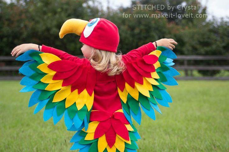 Little Girl wearing a parrot bird costume