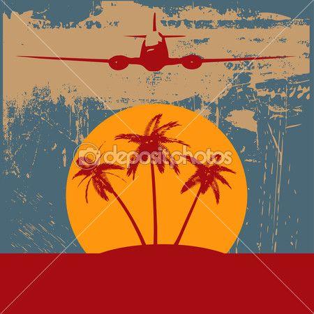 熱帯のヤシの木やグランジ背景とビンテージ航空機の背景イラスト — ストックイラストレーション #9356937