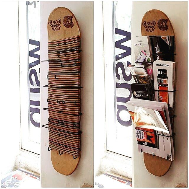 By @communediy  A creative way to utilize old skateboard! #upcycling #diy