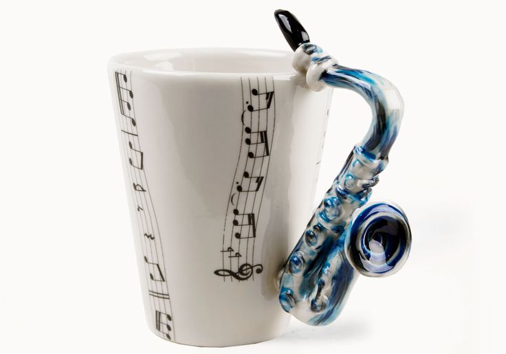 A Saxophone coffee mug, handmade by Blue Witch | A unique gift from CentralCrafts.Com