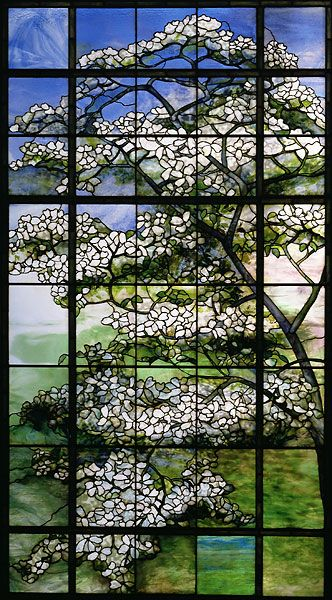 Louis Comfort Tiffany (1848-1933) Shows the dogwood tree which blooms evet tear around Easter time to celebrate the Risen Messiah. The flowers on  the tree represent the wounds on Jesus Christ' body. Dogwood, ca. 1900-15 #stained
