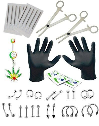 BodyJ4You Body Piercing Kit Jamaican Pot Leaf Belly Rings Tongue Tragus Eyebrow Nipple 36 Pieces
