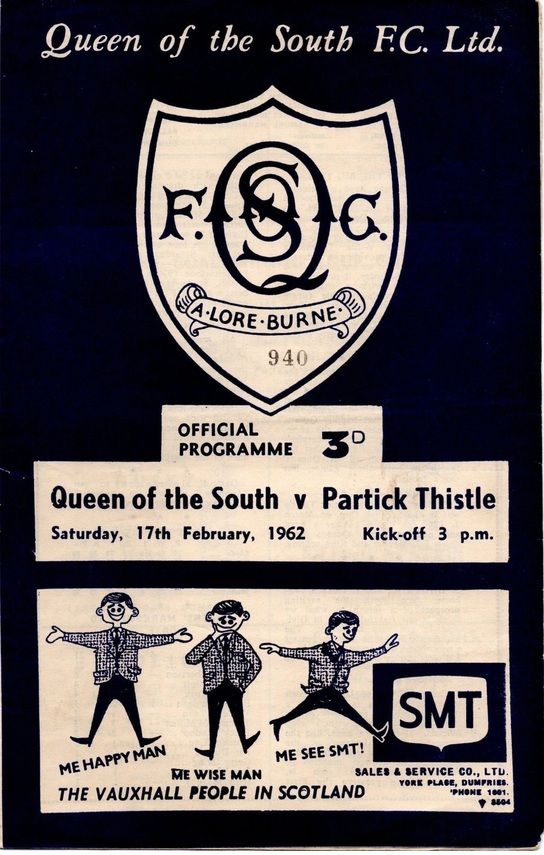 Queen of South 0 Partick Th. 1 in Feb 1962 at Palmerston Park. The programme cover #ScotDiv1