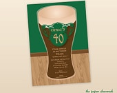 Beer Party Invitation, Pint of Beer Invitation, Adult Birthday Party.