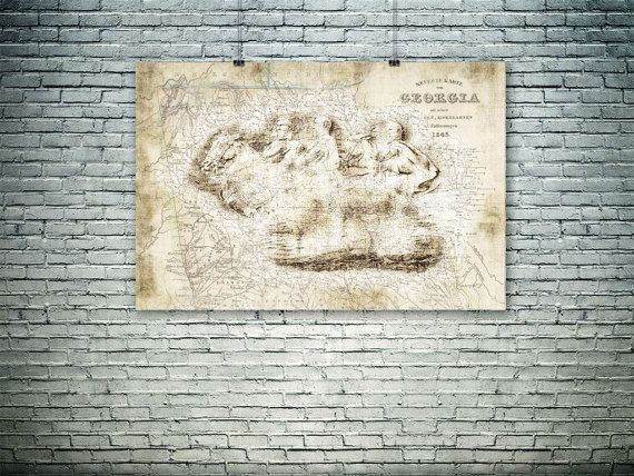 Georgia art print 19th century map old map by PasteUpStore on Etsy