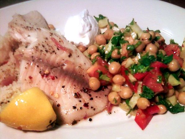 ... and Dinner: Tilapia, Chickpea and Fennel Salad with Couscous