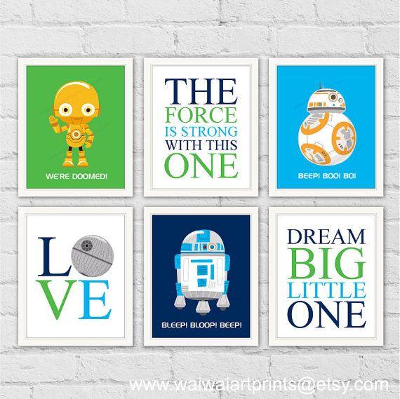Star Wars Robots grabados. R2-D2 C-3PO BB-8 sala de juegos