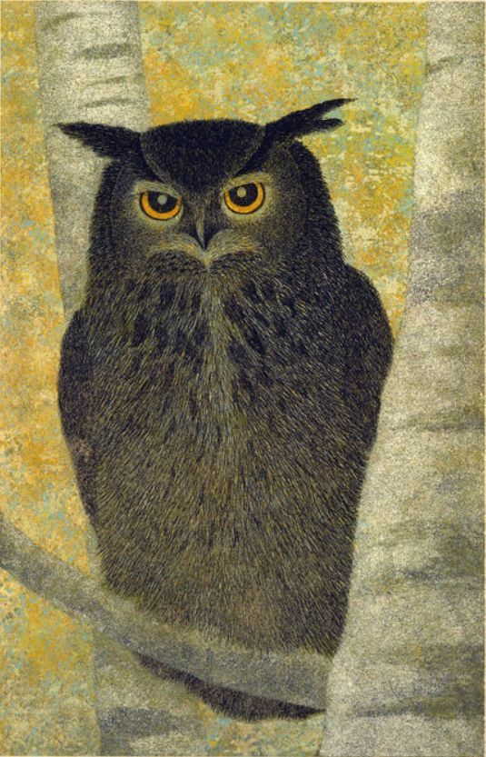 'No. 163 Horned Owl & White Birches' by Yukio Katsuta (1984)