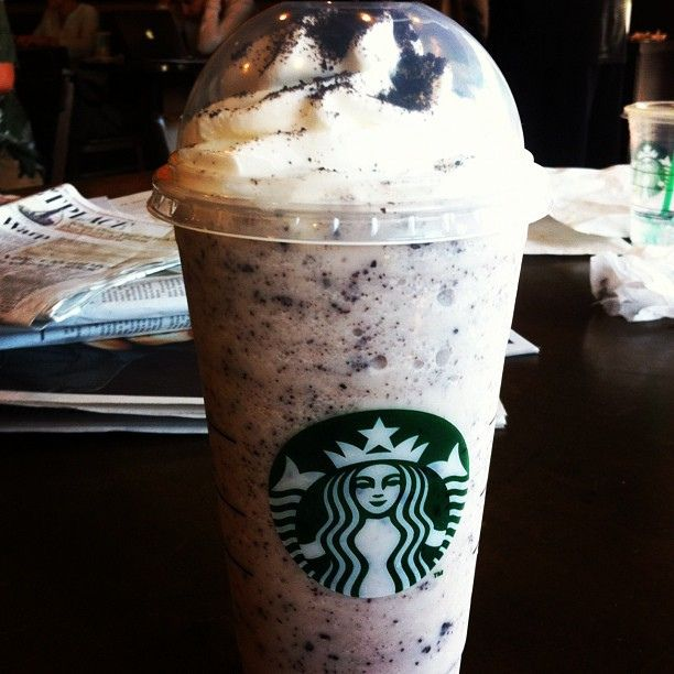 Oreo Frapuccino - This is super simple to order. Just ask for a double chocolate chip frappiccuno with white chocolate mocha in the place of the regular mocha syrup. - Starbucks hack ask by recipe