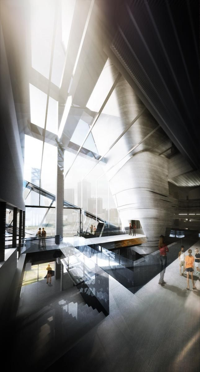 Morphosis perot museum of nature science dallas tx architectural artwork pinterest for Architectural interior rendering